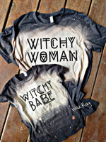 Witchy Woman   Witchy Babe bleached tee   Halloween shirt  Kids toddler adult