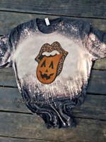 pumpkin bleached halloween shirt