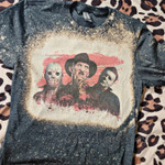 jason freddy  bleached tee   Halloween shirt   horror movie  Kids toddler adult