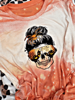 Halloween shirt skull bleached tee