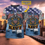NAVY AMERICA - Personalized Name 3D Tshirt - Nvc97