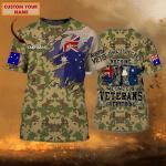 Australian Veteran 2 - Personalized Name 3D TShirt - Loop - Nt168 - Ct191