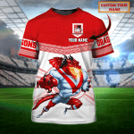 St. George Illawarra Dragons - Personalized Name 3D T-Shirt - Nvc97