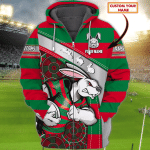 South Sydney Rabbitohs - Personalized Name 3D Zipper hoodie 72 - Nvc97