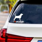 I Love Beagles Vinyl Car Sticker