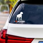 I Love Boxers Vinyl Car Sticker