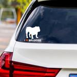 I Love Bulldogs Vinyl Car Sticker