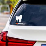 I Love Pugs Vinyl Car Sticker