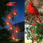 Solar Cardinal Red Bird Wind Chime Light