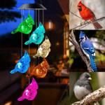 Solar Mourning Dove/Dark-eyed Junco/Hummingbird /Cardinal/Blue Jay Wind Chime Light