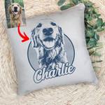 Personalized Pet Portrait Unique Sketch Men & Women Pillow Case for Dog Lovers, Gift for Dog Lover
