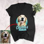 Customized Pet Colourful Painting - Human Marvelous Unisex V-neck Tee For Pet Owners
