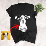 Personalized Dog Portrait Men & Women V-neck Tee for Dog Lovers, Gift for Dog Lover