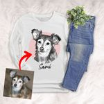 Personalized Pet Portrait Sketch Hand Drawing Men & Women Long Sleeves for Dog Lovers, Gift for Dog Lover