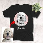 Personalized Pet Portrait Sketch Hand Drawing Men & Women T-shirt for Dog Lovers, Gift for Dog Lover