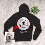 Personalized Pet Portrait Sketch Hand Drawing Men & Women Zip Hoodie for Dog Lovers, Gift for Dog Lover