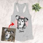 Personalized Pet Portrait Sketch Hand Drawing Men & Women Tank Top for Dog Lovers, Gift for Dog Lover