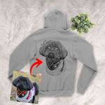 Personalized Pet Photo Portrait Sketch Hand Drawing Men & Women Zip Hoodie for Dog Lovers, Gift for Dog Lover