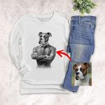 Pet Portrait In Human Costume Customized Unisex Long Sleeve Shirt Special Gift For Pet Lovers, Dog Owners