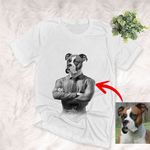 Pet Portrait In Human Costume Personalized T-Shirt Special Gift For Pet Lovers, Dog Moms, Dog Dads, Gift For Boyfriend, Gift For Pet Owners
