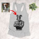 Pet Portrait In Human Costume Customized Women's Tank Top Special Gift For Pet Lovers, Dog Moms, Gift For Pet Owners, Girlfriend