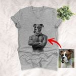 Pet Portrait In Human Costume Custom V-neck T-Shirt Special Gift For Pet Lovers, Dog Moms, Dog Dads, Gift For Pet Owners
