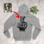 Pet Portrait In Human Costume Personalized Adult Zip Hoodie Special Gift For Pet Lovers, Dog Moms, Dog Dads, Gift For Pet Owners