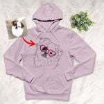Personalized Pet Portrait Custom Unisex Hoodie Hand Drawing Gift For Dog Moms, Dog Dads On Birthday, Anniversary Gift For Her Or Wife