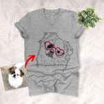 Personalized Pet Portrait Custom Unisex V-neck T-shirt Hand Drawing Gift For Dog Moms, Dog Dads On Birthday, Anniversary Gift For Her,