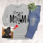 Dog Mom Pet Portrait Customized Adult Long sleeve shirt Pet Memorial Gift For Dog Moms, Dog Mama, Birthday Gift For Girlfriend