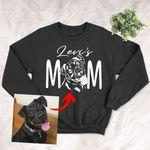 Dog Mom Pet Portrait Customized Adult Sweater Shirt Pet Memorial Gift For Dog Moms, Dog Mama, Birthday Gift For Girlfriend