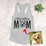 Dog Mom Pet Portrait Customized Women's Tank Top Pet Memorial Gift For Dog Moms, Dog Mama, Birthday Gift For Girlfriend