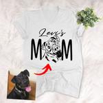 Dog Mom Pet Portrait Customized Female V-neck T-shirt Pet Memorial Gift For Dog Moms, Dog Mama, Birthday Gift For Girlfriend