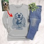 Sketch Hand Drawing Customized Unisex Long sleeve shirt Pencil Drawing Gift For Dog Lovers, Pet Owners, Dog Mama, Dog Dads, Pet Rescue Team