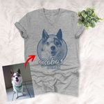 Sketch Hand Drawing Custom Unisex V-neck T-shirt Pencil Drawing Gift For Dog Lovers, Pet Owners, Dog Mama, Dog Dads, Pet Rescue Team