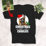 Personalized Dog Portrait Colorful Oil Painting Men & Women T-shirt Christmas Is Better With My Pet for Dog Lovers