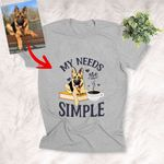 Customized Pet Portrait T-shirt - My Need Are Simple Coffee And Books Unisex Adult T-shirt For Pet Owners