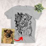 Pet Portrait With Flower Pencil Sketch Personalized Unisex T-shirt Gift For Dog Moms, Dog Dads, Daughter on Birthday