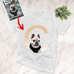 Personalized Dog with Alphabetical Portrait Women T-shirt for Dog Lovers, Dog Parents, Gift for Dog Lover