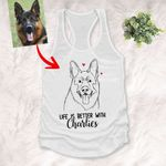 Personalized Pet Portrait Women's Tank Top Hand Drawing Custom Gift For Dog Moms, Pet Lovers On Birthday, Anniversary Gift For Her, Wife