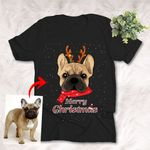 Customized Pet Oil Painting Christmas T-shirt - Merry Christmas Unisex Adult T-shirt For Pet Lovers