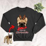 Customized Pet Oil Painting Christmas Sweatshirt - Merry Christmas Unisex Adult Crewneck Sweatshirt For Pet Owners