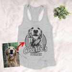 Personalized Sketch Hand Drawing Women's Tank Top Pencil Drawing Gift For Dog Lovers, Pet Owners, Dog Mama, Girlfriend, Pet Rescue Team