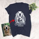 Pencil Sketch Hand Drawing Personalized Unisex V-neck T-shirt Vintage Gift For Mom, Dad, Birthday Gift For Pet Lovers
