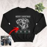Personalized Pet Portrait Unisex Sweater Shirt Gift For Dog Lovers, Dog Mom, Dog Dad, Pet Owners On Christmas