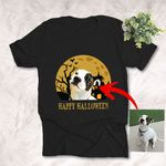 Customized Pet Happy Halloween Oil Painting Unisex Adult T-shirt For Pet Owners