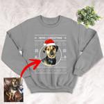 Personalized Circle Dog Portrait  Men & Women Crewneck Sweatshirt Christmas for Dog Lovers