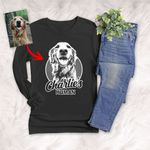 Personalized Pencil Sketch Hand Drawing Unisex Long sleeve shirt Vintage Gift For Mom, Dad, Birthday Gift For Pet Lovers