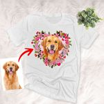Customized Pet Flower Heart Illustration Unisex Adult T-shirt For Pet Owners