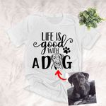 Life Is Good With My Puppies Customized Pet Portrait Pencil Sketch Unisex Adult T-shirt For Dog Lovers